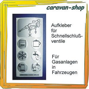 Aufkleber für Schnellschlussventil, Gasanlage, Caravan, Wohnmobil, Hahn, Gas