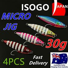 4x 30g ISOGO Japan Micro Slow Jig Jigging with Assist Hook Lumo Kingfish Snapper