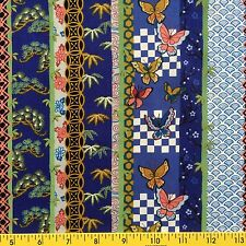 PALACE GARDEN fabric for sewing and quilting BORDER STRIPE blue ASIAN THEME