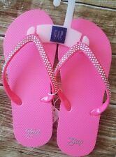 New Gap Kids Pink Flip Flop With Rhine Stone Sz 3/4
