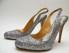 WOMENS BADGLEY MISCHKA SILVER SEQUIN CLOSED TOE SLING BACK HEELS SHOES 8.5~1/2 M