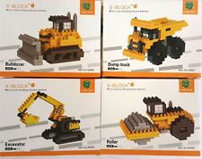 4 sets of New Construction Truck  Micro Blocks Nano Block Dump Bulldozer Roller