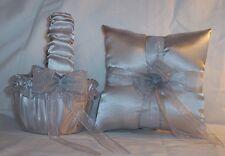 Silver Satin / Silver Trim Flower Girl Basket & Ring Bearer Pillow # 4
