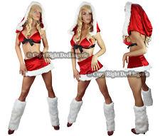 FANCY CHRISTMAS SANTA OUTFIT COSTUME HOOD BRA + MINI SKIRT + LEG WARMER