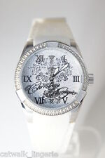Christian Audigier Women's White Blossom Crystals Rubber Strap Watch INT-312