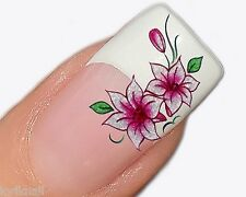 Nailart Sticker Aufkleber in Metallic für Fingernägel Motiv PT022 Lilien in Pink