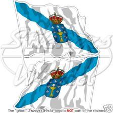 """GALICIA Galician Flying Flag SPAIN Galiza Galego 120mm (4"""") Stickers, Decals x2"""