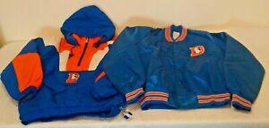 Vintage 1980s 1990s STARTER Chalk Line Satin Jacket Coat DENVER BRONCOS NFL XL M