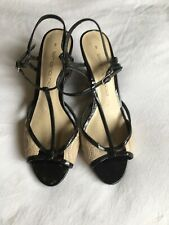 Simona Ricci Size 8 Vegan Black Strappy Snakeprint Wedges Ankle strap