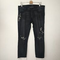 Lucky Brand Womens 10 Black Sienna Slim Distressed Emboirdered Boyfriend Jeans