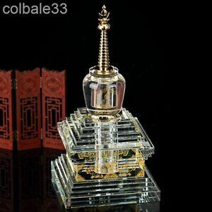 "26cm 10"" crystal stupa sarira dagoba temple shrine worship pagoda"