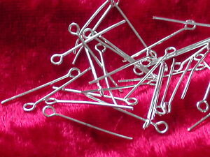 50 Kettelstifte 30 mm x 0,7 mm mit Öse Nietstifte Silber