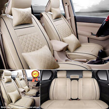 HOT L Size Beige Car 5-Seats PU Leather Seat Cover Front+Rear Neck Lumbar Pillow