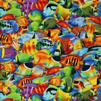 FQ Timeless Treasures Colorful Packed Fishes on Cotton Fabric-FQ