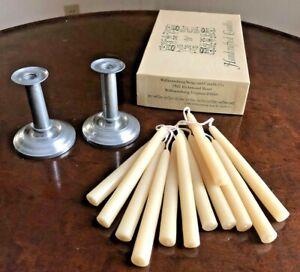 Colonial Williamsburg Restoration Stieff Pewter Candlesticks + Candles
