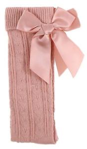 Baby BOW socks girl Spanish Romany style knee high cotton rich hearts ribbon
