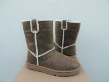 UGG CHESTNUT CLASSIC SHORT SPILL SEAM BOMBER SUEDE BOOTS, US 7/ EUR 38 ~NEW