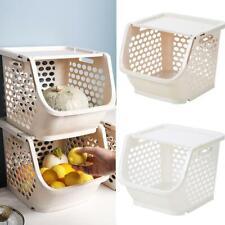 Stackable Storage Basket Fruit Vegetable Toy Stacking KitchenI Bedroom Rack U9C8