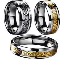 Wedding Engagement Titanium Stainless Rings Silver Gold Men's Dragon Fashion