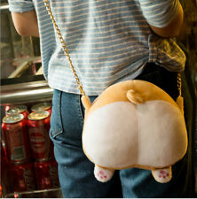 Soft Plush Women Kawaii Ass Shoulder Bag Girl Corgi Butt Handbag 22cm x 20cm