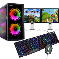 More details for gaming pc bundle intel quad core 8gb 1tb windows 10 gt710 dual screen budget