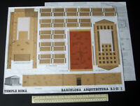1st Century AD Temple Roma in Barcelona Spain Cut-Out Card Model 1980s Vintage