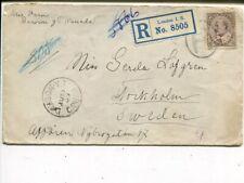 Canada Kevii 10c on reg cover to Sweden, Dawson Yt (Klondyke) to Sweden 1907