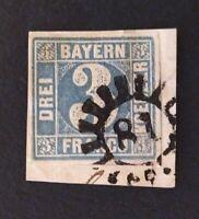 """Bayern 3 Kreuzer blau Mi.-Nr. 2 II auf Briefst. mit seltenem gMR """"81"""" Esselbach"""
