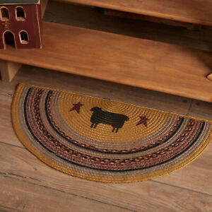 """VHC Brands Primitive 16.5""""x33"""" Sheep Accent Rug Yellow Stenciled Floor Decor"""