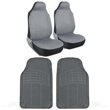 Explorer Seat Cover 2 Pc Mesh Polyester Gray & 2 Pc Gray Rubber Car Floor Mats