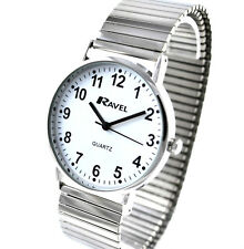 Ravel Mens BIG NUMBER Silver Tone Stretch Bracelet Expander Watch, Minute Marks