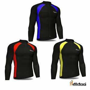 Didoo Mens Long Sleeve Cycling Jersey Thermal Full Zip Winter Sports Top