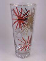 Vintage MCM Gold & Coral/Salmon Starbursts w/ Gold Rim Pilsner Beer Glass