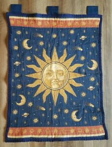 Vintage Tapestry Wall Hanging Wall Art Sun Moon Stars Planets Blue Red Yellow