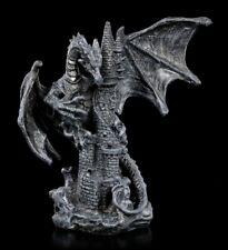 Schwarze Drachen Figur - Nobody is Save - Fantasy Burgdrache Drachenwächter Deko