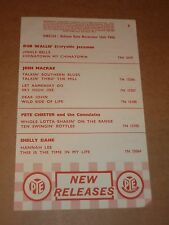 Pete Chester & Consulates/Flee-Rekkers 1960 Pye Records Release Sheet