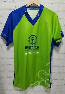 V Gear Cycling Jersey Shirt Men's Evergreen Instructor Large L Green Blue A76