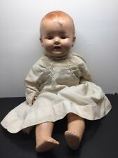 ANTIQUE VINTAGE COMPOSITION DOLL W/ 4 TEETH & SQUEAKER