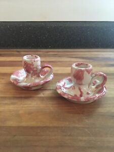 Rare Set/2 Vintage BYBEE Ky BB Miniature Chamber Candle Holders Pink Spongeware