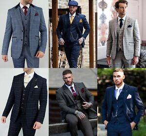 Mens Peaky Blinders Wedding Tweed Check 3 Piece Suit Vintage Tailored Fit Wool