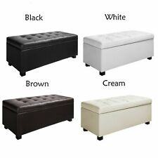 Large PU Leather Ottoman Blanket Box Chest Storage Toy Box Stool - Four Colours