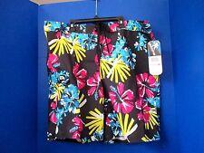 GOTCHA~Black w/ Hawaiian Flowers BOARD SHORTS~Men's Size 38~NWT