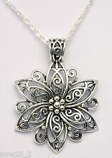 Pendant on Silver Colour Necklace Hcn198 Hand Made Large Silver Colour Flower