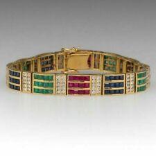 "10Ct Princess Diamond Emerald Sapphire Ruby Bracelet 14k Yellow Gold Over 8.5"""