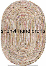Handmade Braided Oval Rug Jute & Cotton 3x4 Feet Rug Home Living Area Rug Carpet