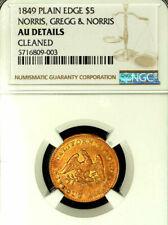 1849 $5 Norris, G & Norris, NGC AU Details Cleaned Plain Edge-Territorial Califo