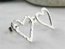 Sterling Silver Sparkly Hammered Open Heart Ear Stud Earrings 14mm - Handmade UK