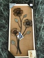Hanging Metal Wooden Wall Sculpture Abstract Home Living Decoration 90cm x 30cm