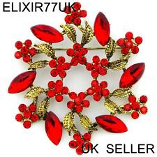 LARGE RED DIAMANTE CRYSTAL VINTAGE FLOWER BROOCH PIN BOUQUET ANTIQUE GOLD LOT UK