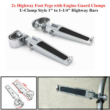 "1-1/4""Motorcycle Highway Engine Guard Crash Bar U-clamp Foot Pegs Footrest Parts"